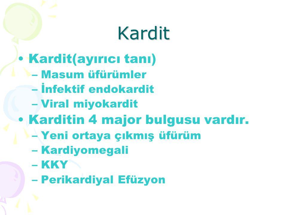 Kardit Kardit(ayırıcı tanı) Karditin 4 major bulgusu vardır.