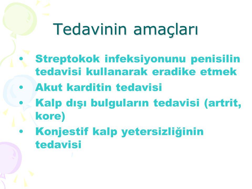 Tedavinin amaçları Streptokok infeksiyonunu penisilin tedavisi kullanarak eradike etmek. Akut karditin tedavisi.