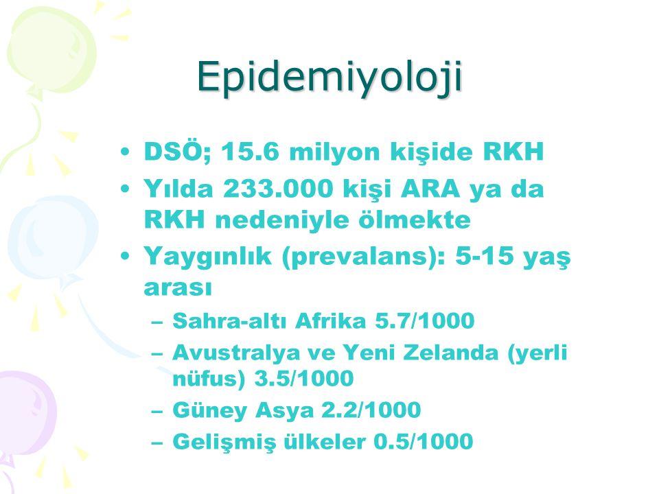 Epidemiyoloji DSÖ; 15.6 milyon kişide RKH