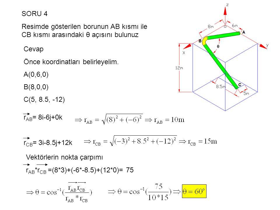SORU 4 Resimde gösterilen borunun AB kısmı ile CB kısmı arasındaki θ açısını bulunuz. Cevap. Önce koordinatları belirleyelim.