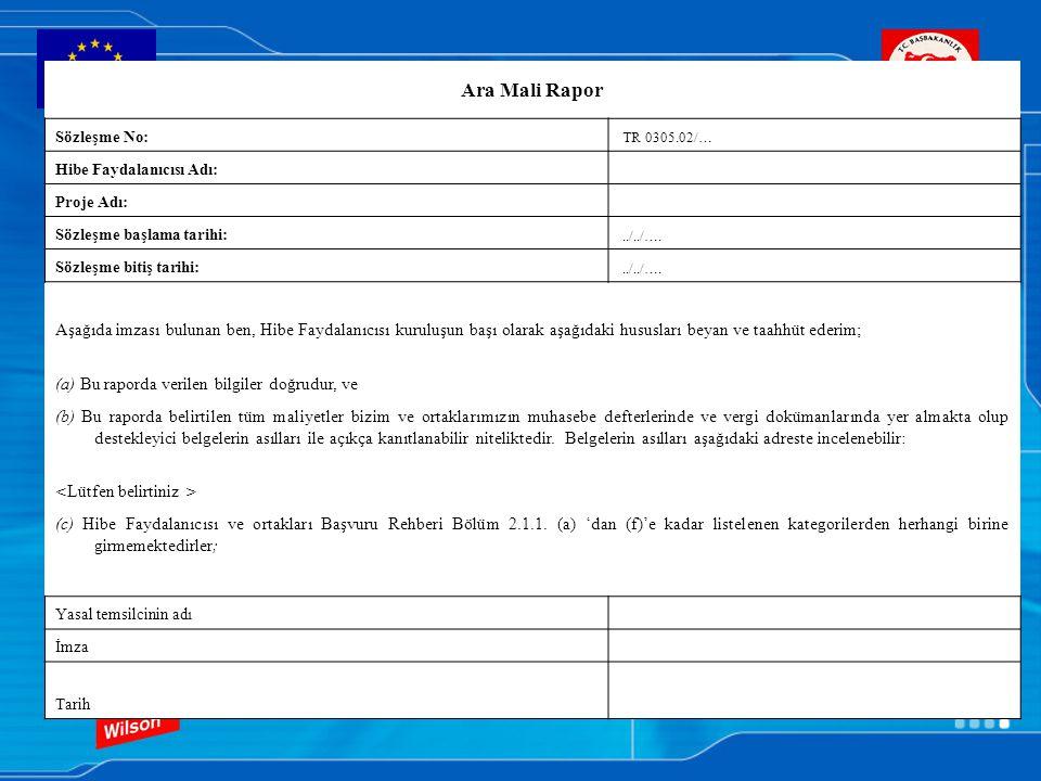 Ara Mali Rapor Sözleşme No: TR 0305.02/… Hibe Faydalanıcısı Adı: Proje Adı: Sözleşme başlama tarihi: