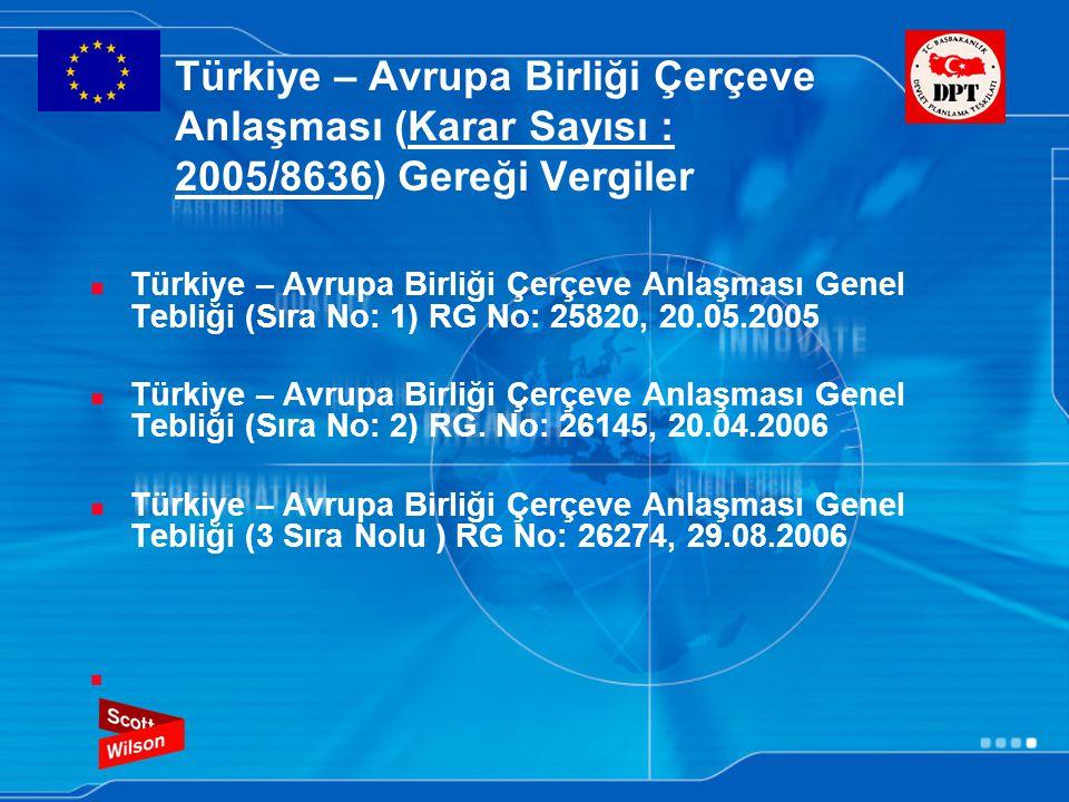Türkiye – Avrupa Birliği Çerçeve Anlaşması (Karar Sayısı : 2005/8636) Gereği Vergiler