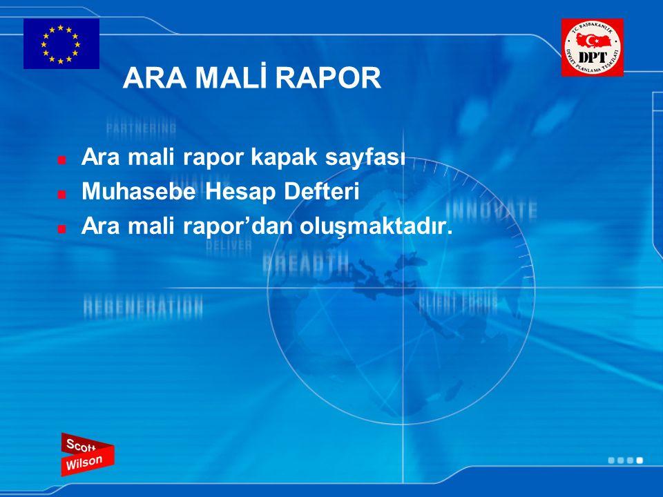 ARA MALİ RAPOR Ara mali rapor kapak sayfası Muhasebe Hesap Defteri