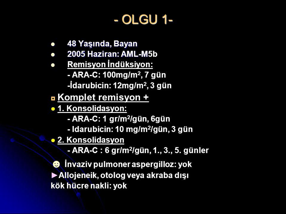 - OLGU 1- ☻ İnvaziv pulmoner aspergilloz: yok 48 Yaşında, Bayan