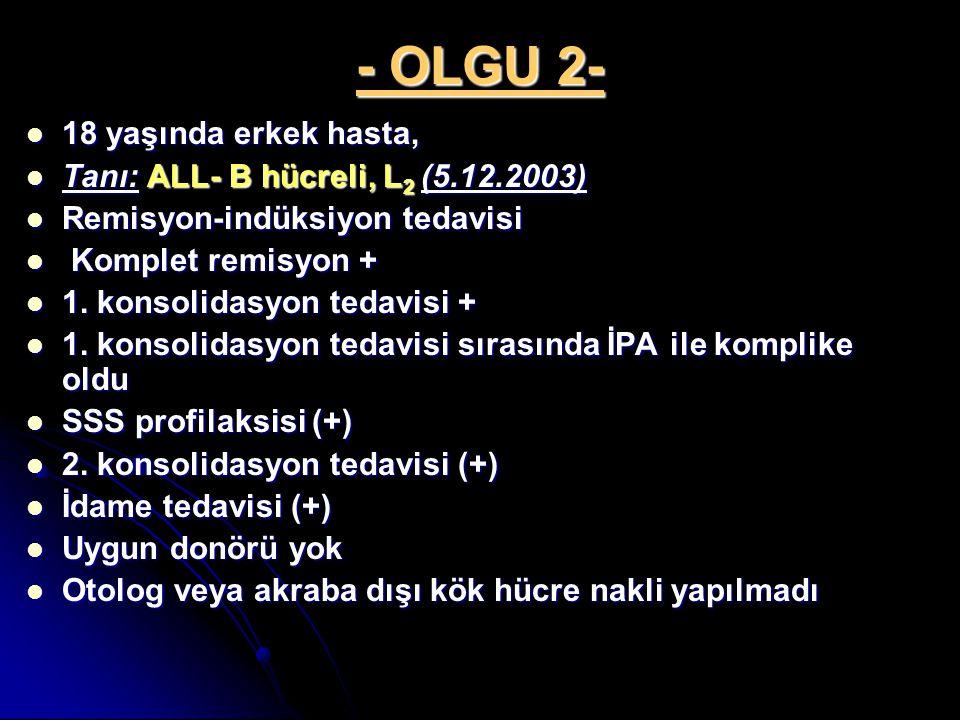 - OLGU 2- 18 yaşında erkek hasta, Tanı: ALL- B hücreli, L2 (5.12.2003)