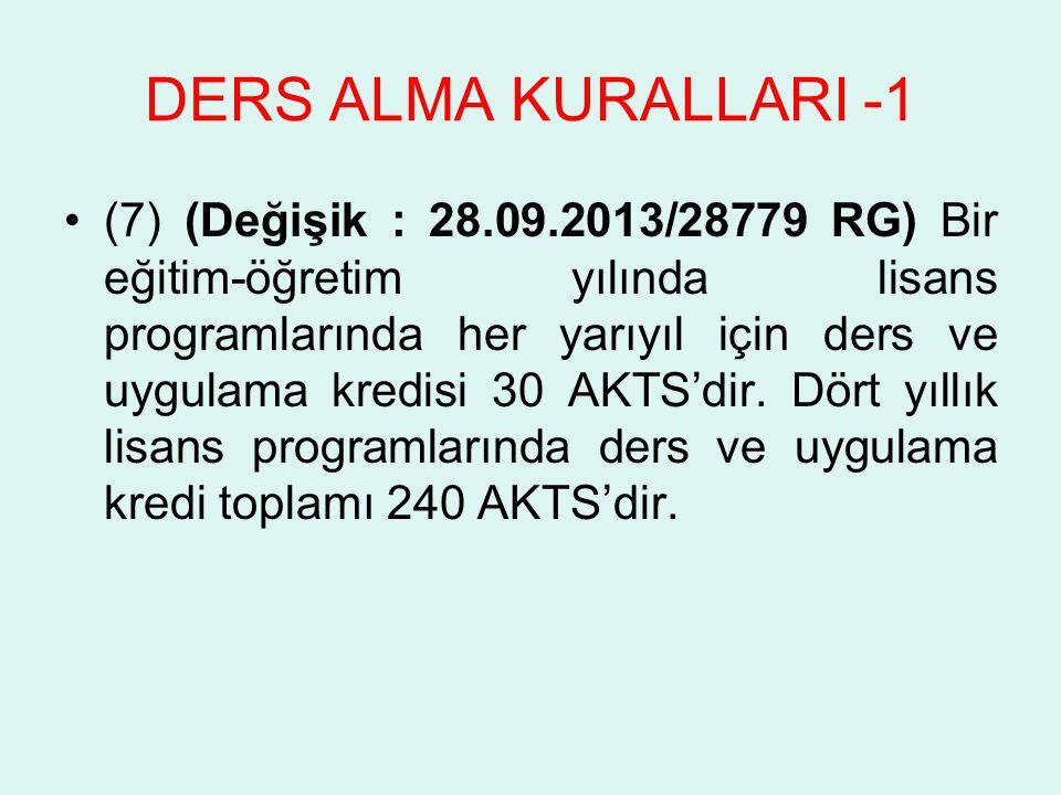DERS ALMA KURALLARI -1