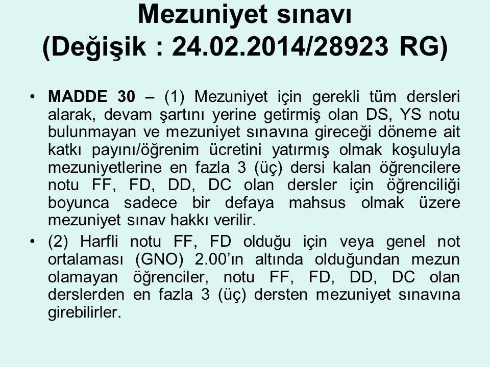 Mezuniyet sınavı (Değişik : 24.02.2014/28923 RG)