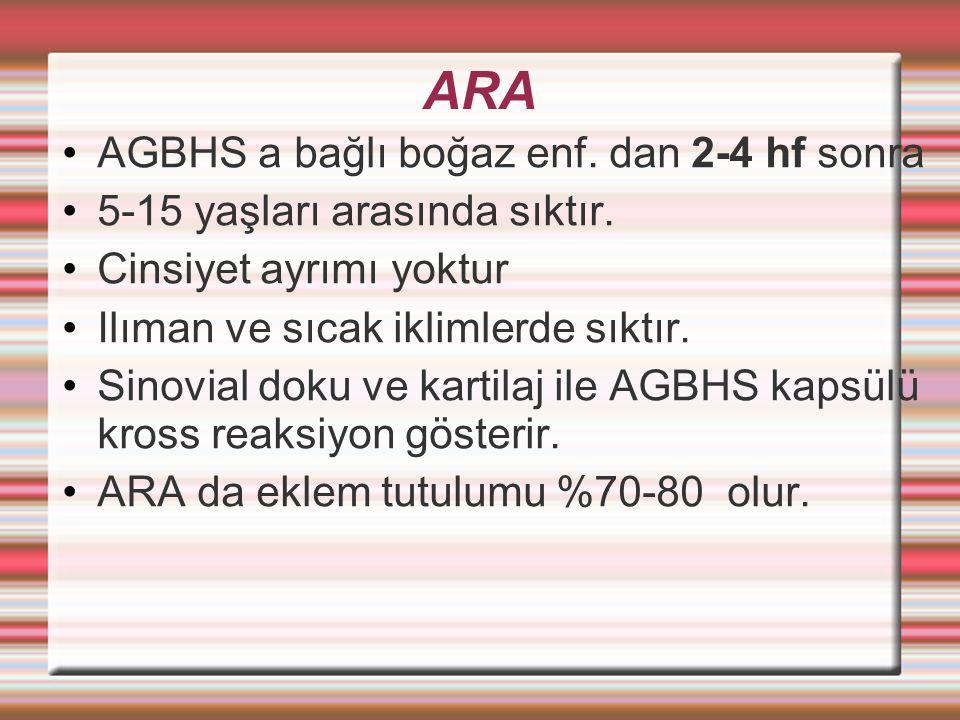 ARA AGBHS a bağlı boğaz enf. dan 2-4 hf sonra