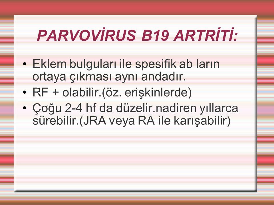 PARVOVİRUS B19 ARTRİTİ: Eklem bulguları ile spesifik ab ların ortaya çıkması aynı andadır. RF + olabilir.(öz. erişkinlerde)