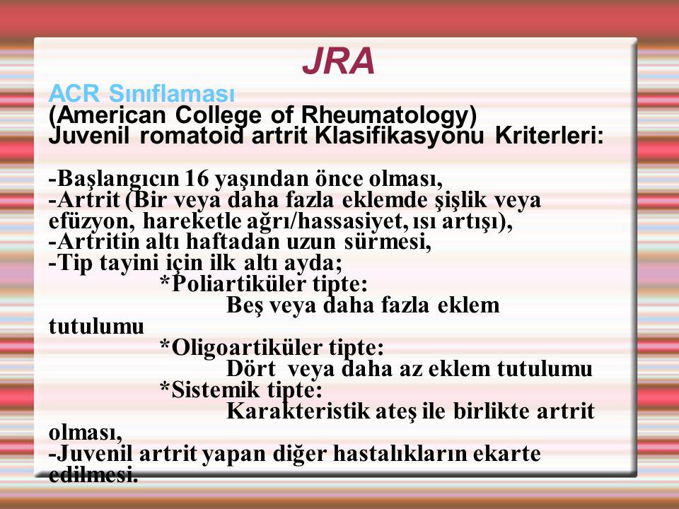 JRA ACR Sınıflaması (American College of Rheumatology)