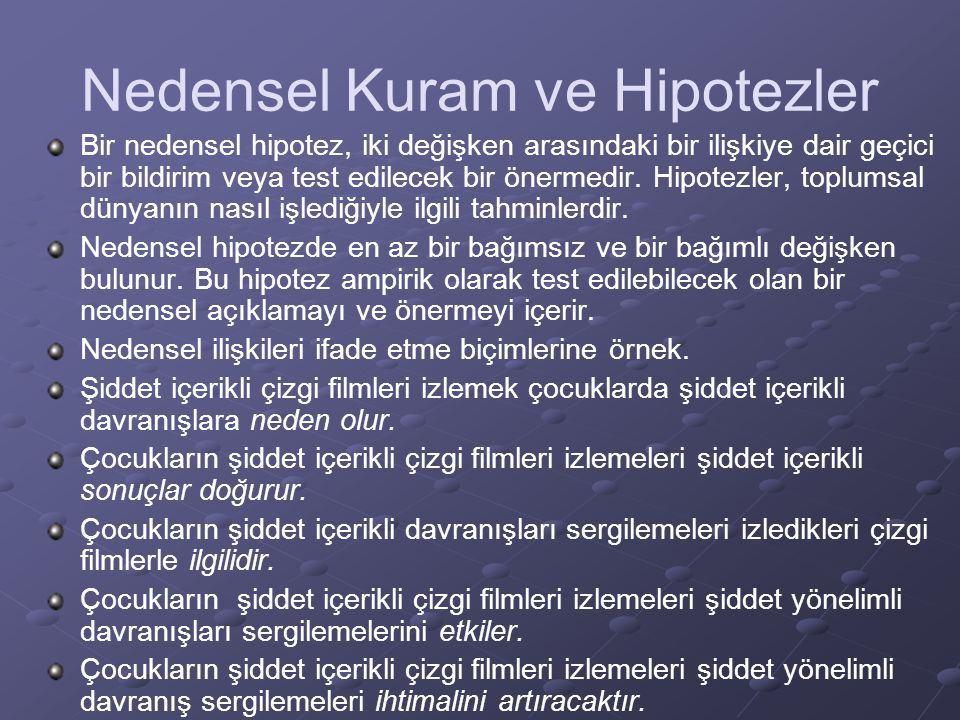 Nedensel Kuram ve Hipotezler