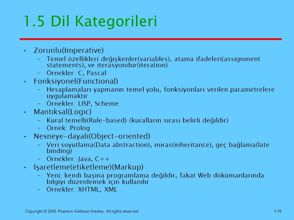1.5 Dil Kategorileri Zorunlu(Imperative) Fonksiyonel(Functional)