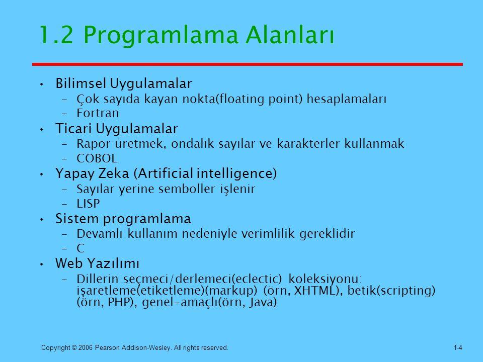 1.2 Programlama Alanları Bilimsel Uygulamalar Ticari Uygulamalar