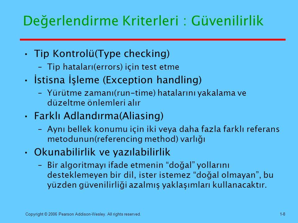 Değerlendirme Kriterleri : Güvenilirlik