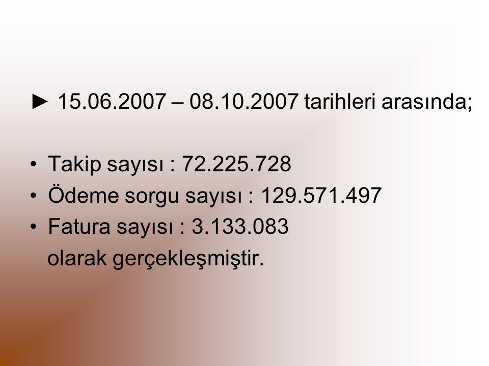 ► 15.06.2007 – 08.10.2007 tarihleri arasında;
