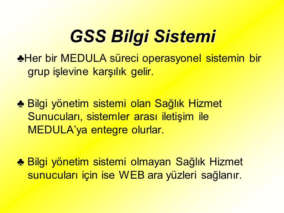 GSS Bilgi Sistemi ♣Her bir MEDULA süreci operasyonel sistemin bir grup işlevine karşılık gelir.
