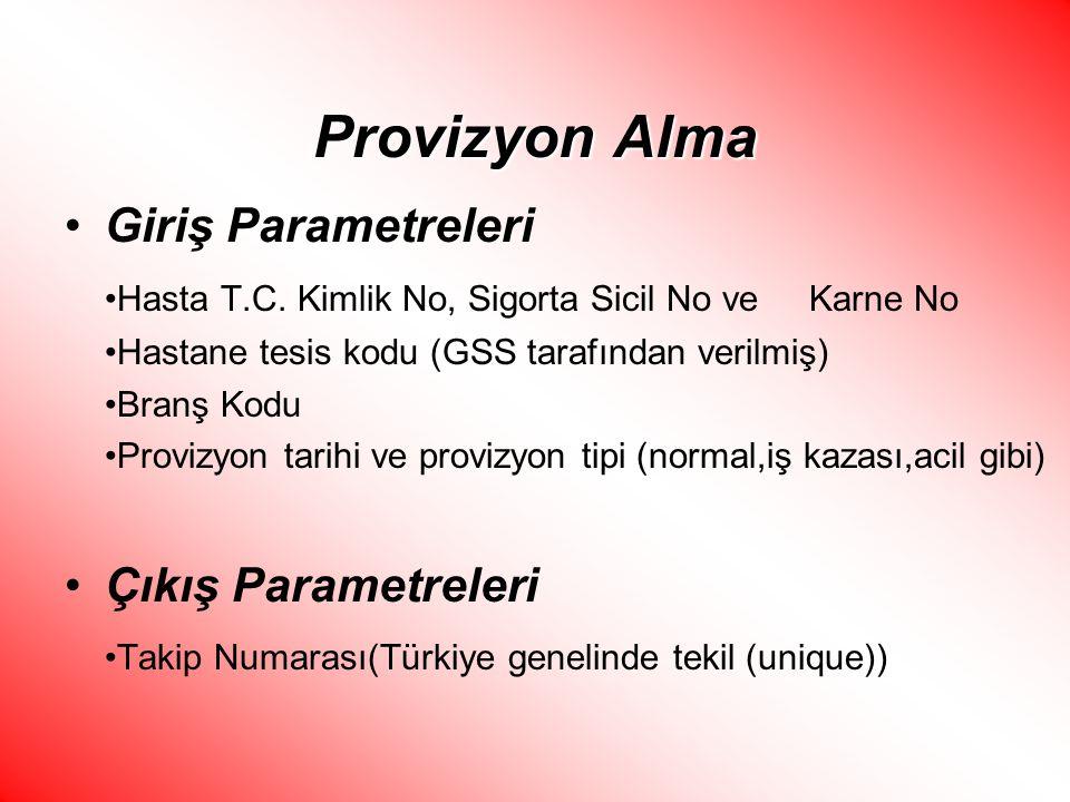 Provizyon Alma Giriş Parametreleri