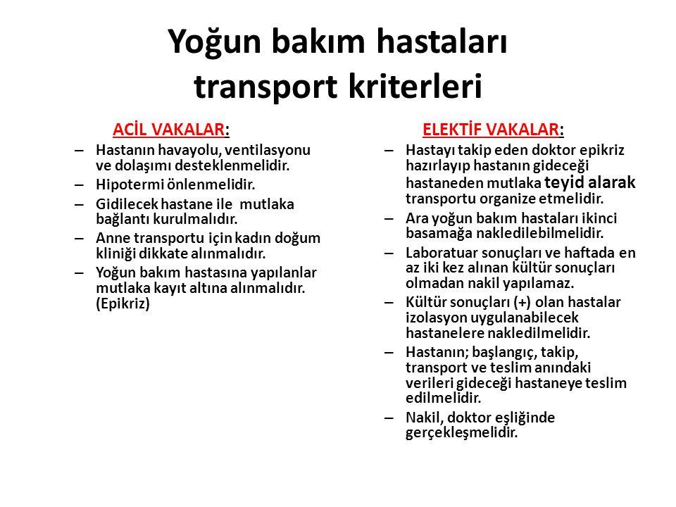 Yoğun bakım hastaları transport kriterleri