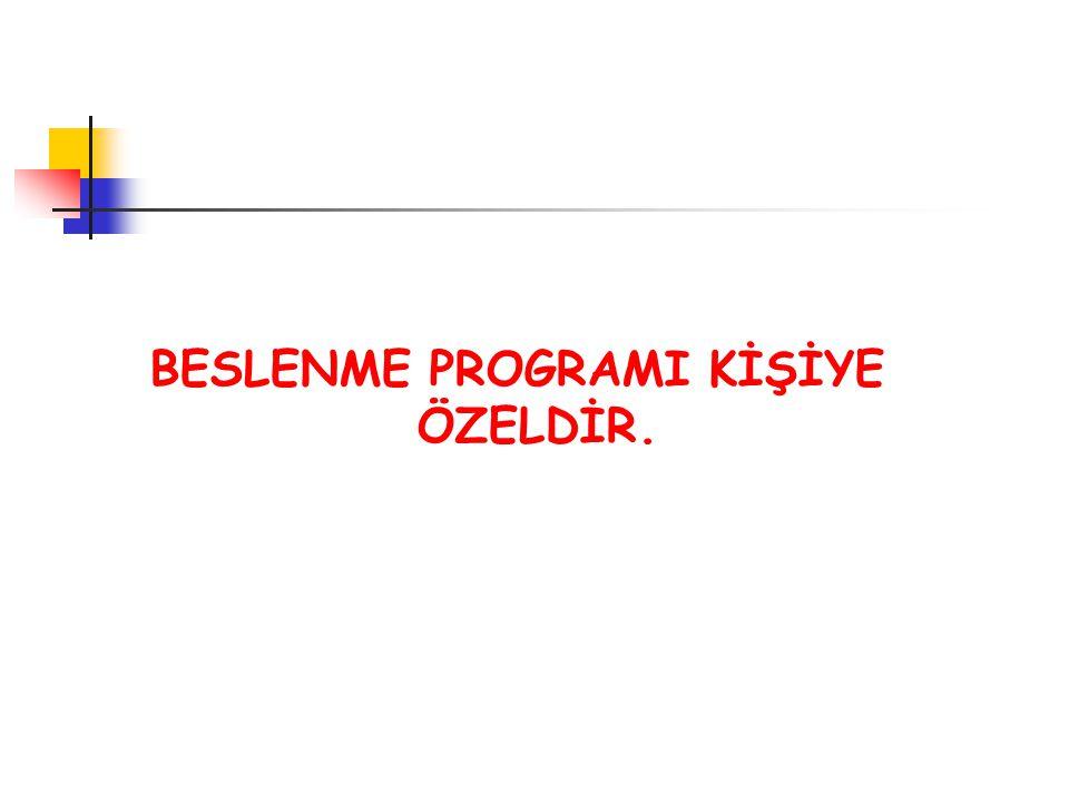 BESLENME PROGRAMI KİŞİYE ÖZELDİR.