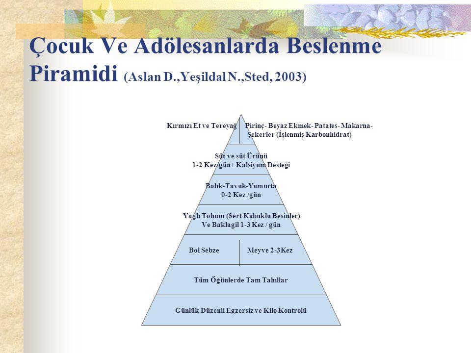 Çocuk Ve Adölesanlarda Beslenme Piramidi (Aslan D. ,Yeşildal N