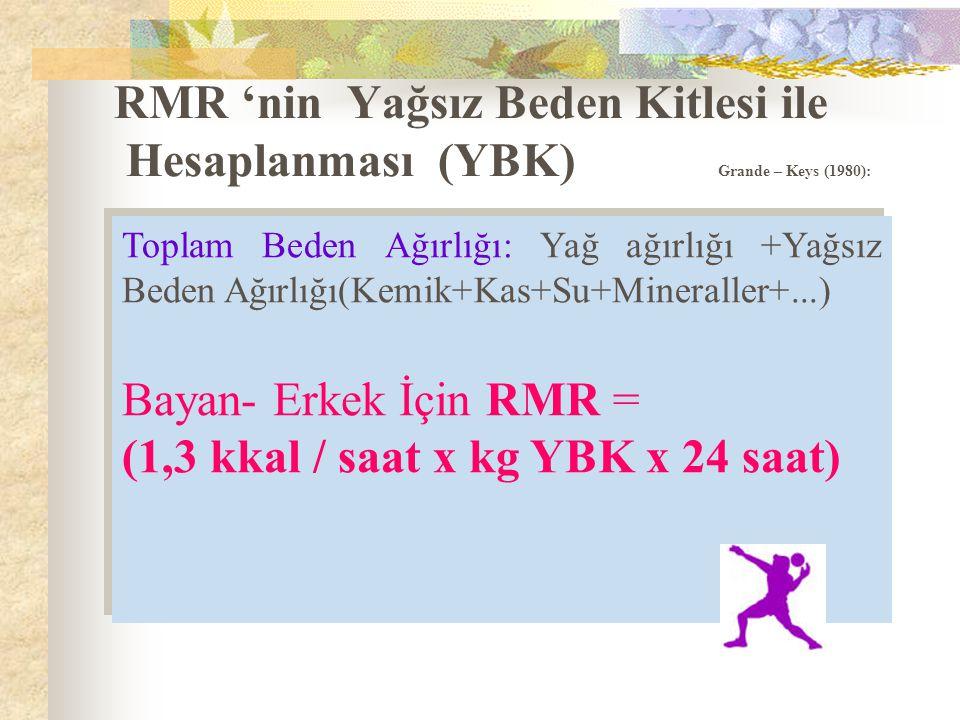 (1,3 kkal / saat x kg YBK x 24 saat)