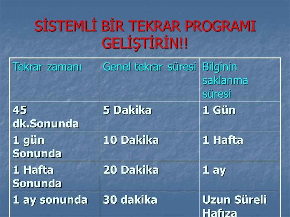 SİSTEMLİ BİR TEKRAR PROGRAMI GELİŞTİRİN!!