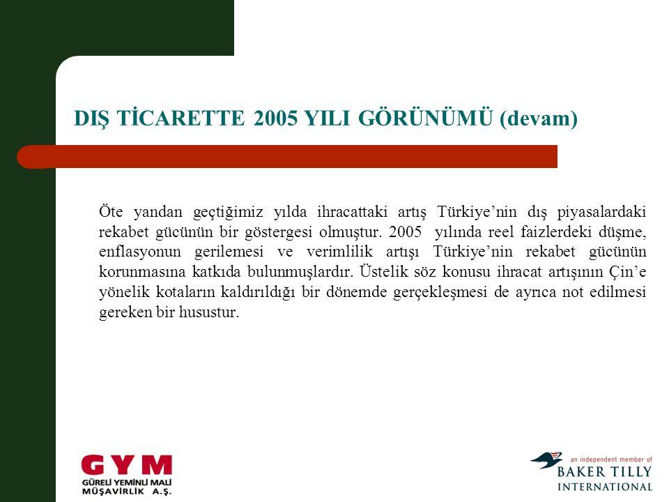 DIŞ TİCARETTE 2005 YILI GÖRÜNÜMÜ (devam)