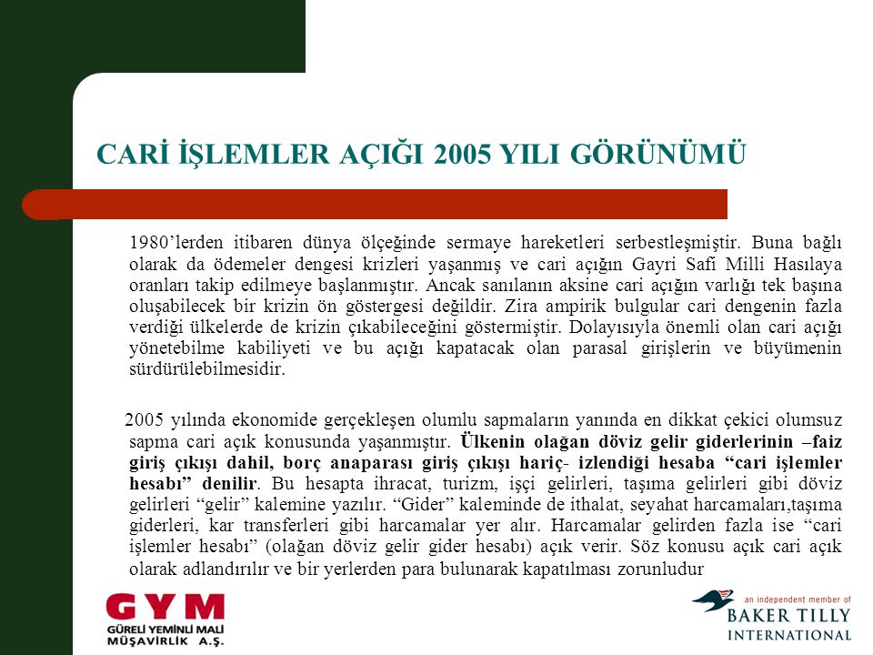 CARİ İŞLEMLER AÇIĞI 2005 YILI GÖRÜNÜMÜ