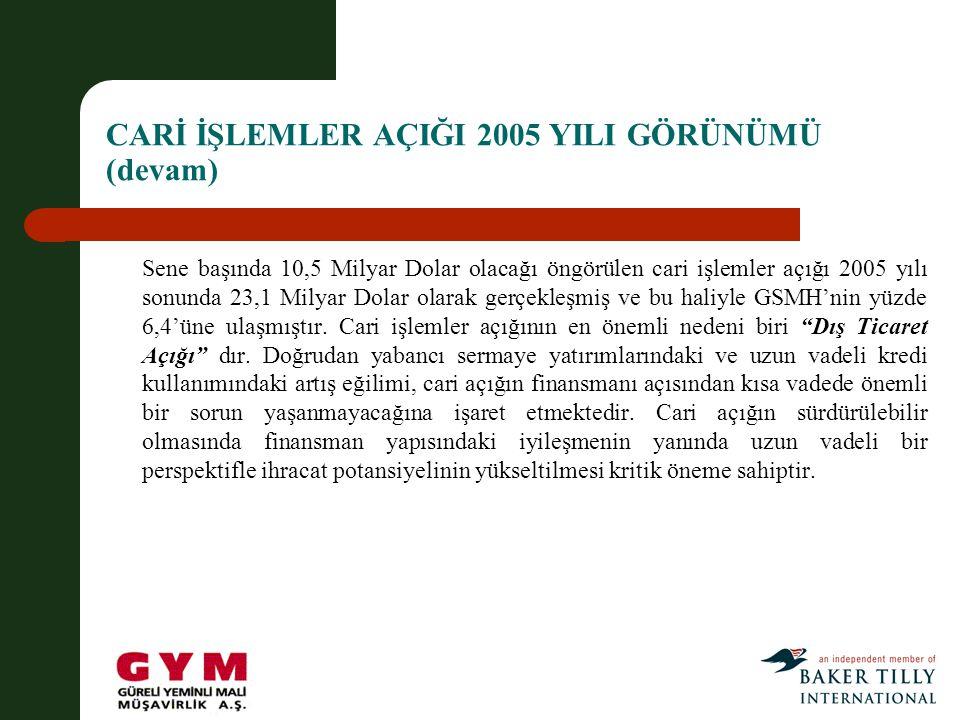 CARİ İŞLEMLER AÇIĞI 2005 YILI GÖRÜNÜMÜ (devam)