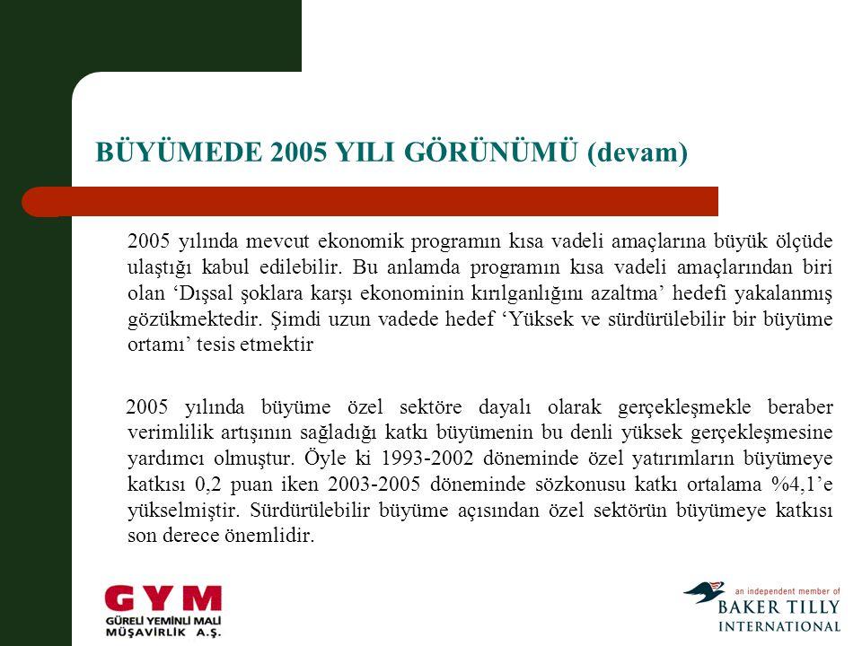 BÜYÜMEDE 2005 YILI GÖRÜNÜMÜ (devam)