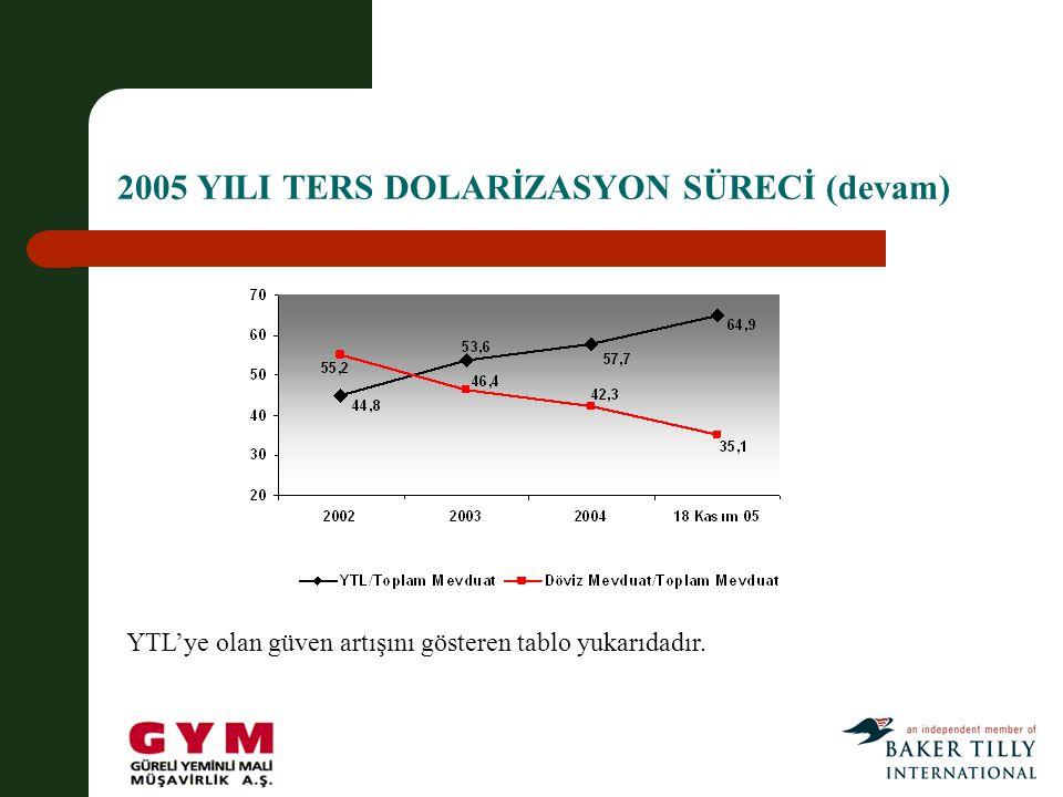 2005 YILI TERS DOLARİZASYON SÜRECİ (devam)