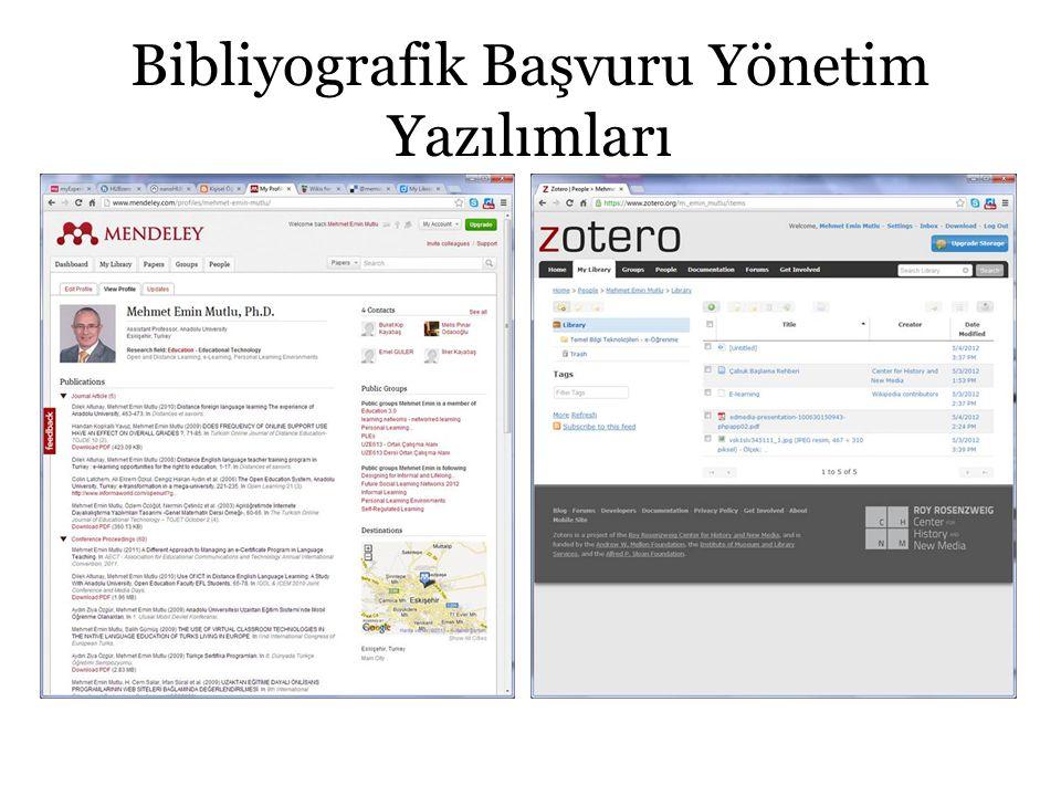 Bibliyografik Başvuru Yönetim Yazılımları