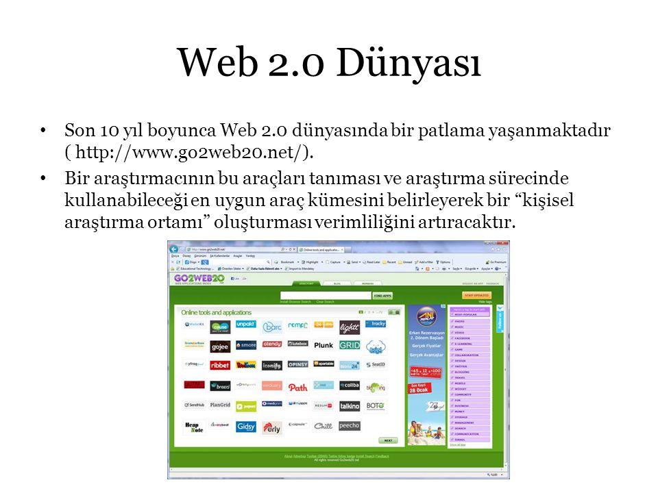 Web 2.0 Dünyası Son 10 yıl boyunca Web 2.0 dünyasında bir patlama yaşanmaktadır ( http://www.go2web20.net/).