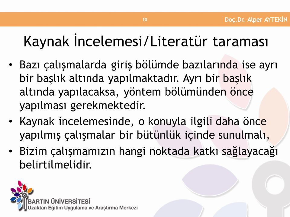 Kaynak İncelemesi/Literatür taraması