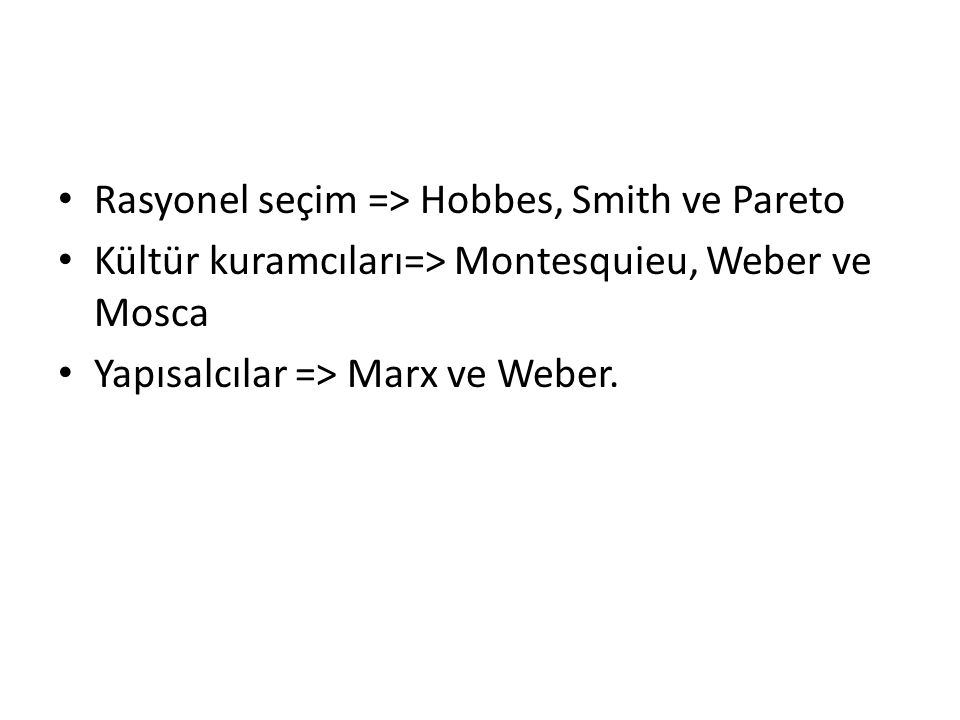 Rasyonel seçim => Hobbes, Smith ve Pareto