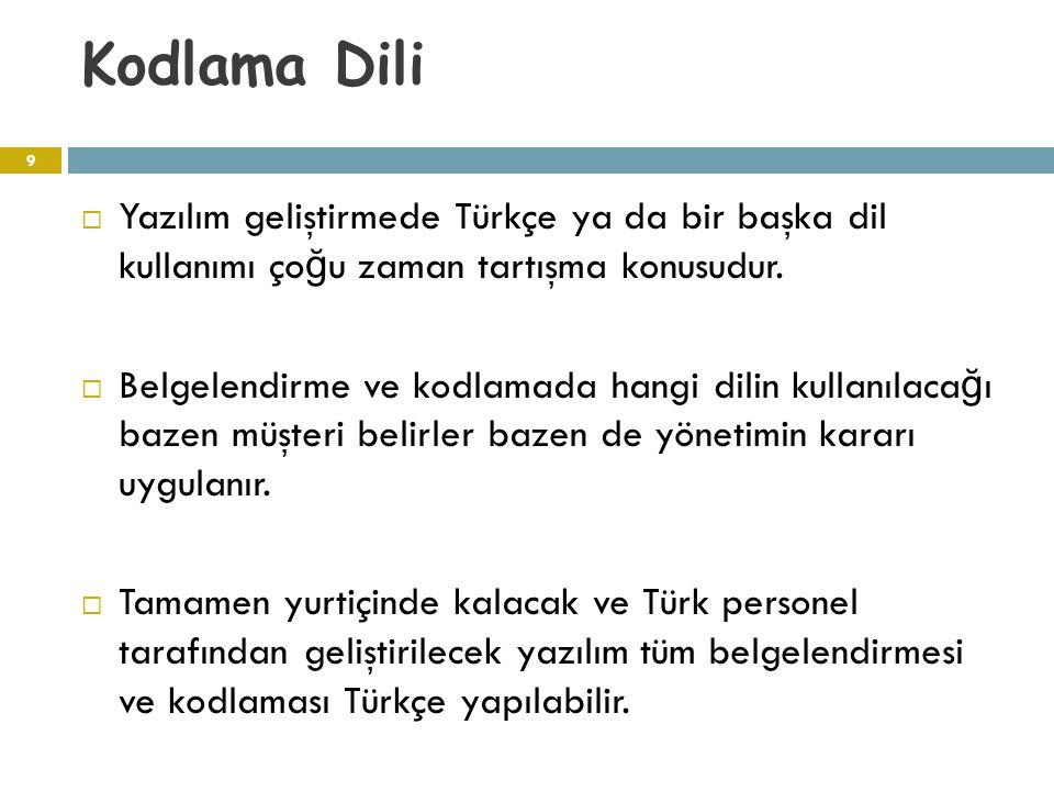 Kodlama Dili Yazılım geliştirmede Türkçe ya da bir başka dil kullanımı çoğu zaman tartışma konusudur.