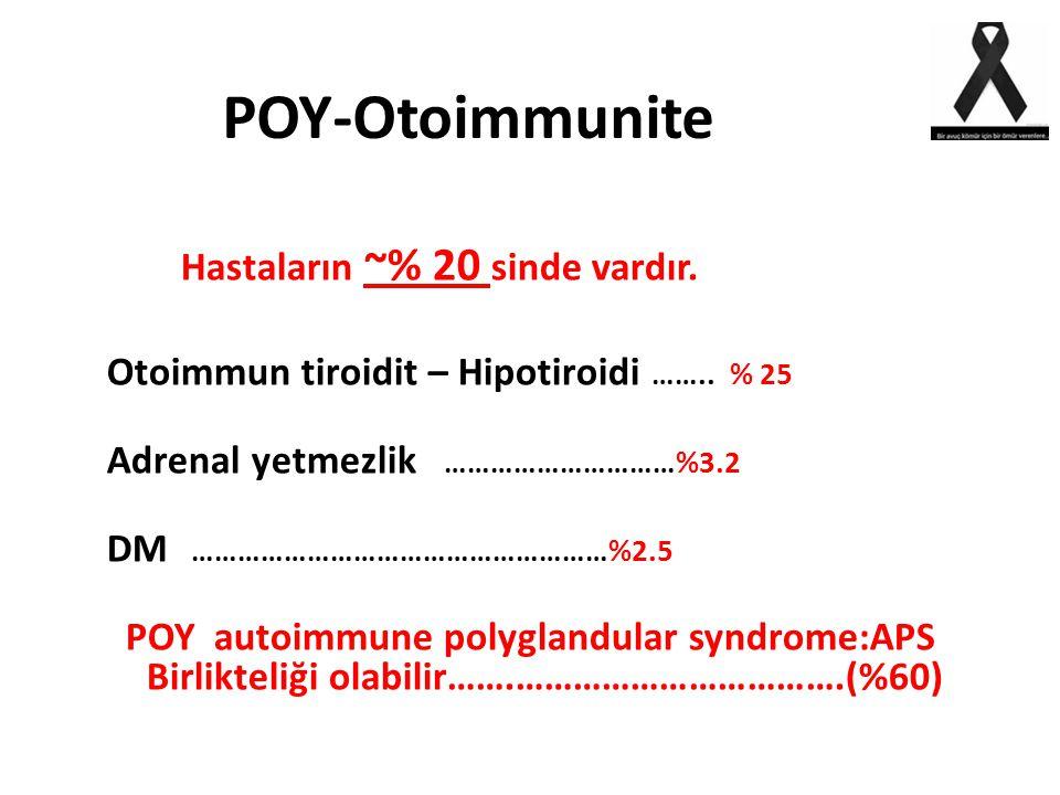 POY-Otoimmunite Otoimmun tiroidit – Hipotiroidi …….. % 25