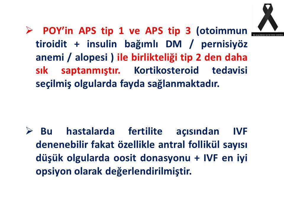 POY'in APS tip 1 ve APS tip 3 (otoimmun tiroidit + insulin bağımlı DM / pernisiyöz anemi / alopesi ) ile birlikteliği tip 2 den daha sık saptanmıştır. Kortikosteroid tedavisi seçilmiş olgularda fayda sağlanmaktadır.