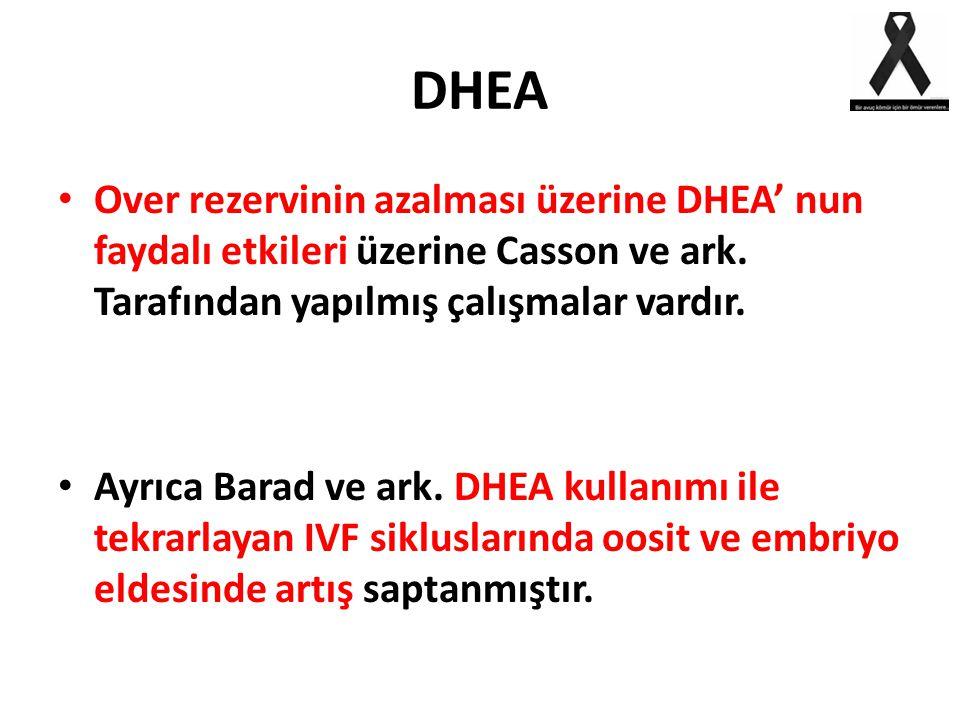 DHEA Over rezervinin azalması üzerine DHEA' nun faydalı etkileri üzerine Casson ve ark. Tarafından yapılmış çalışmalar vardır.