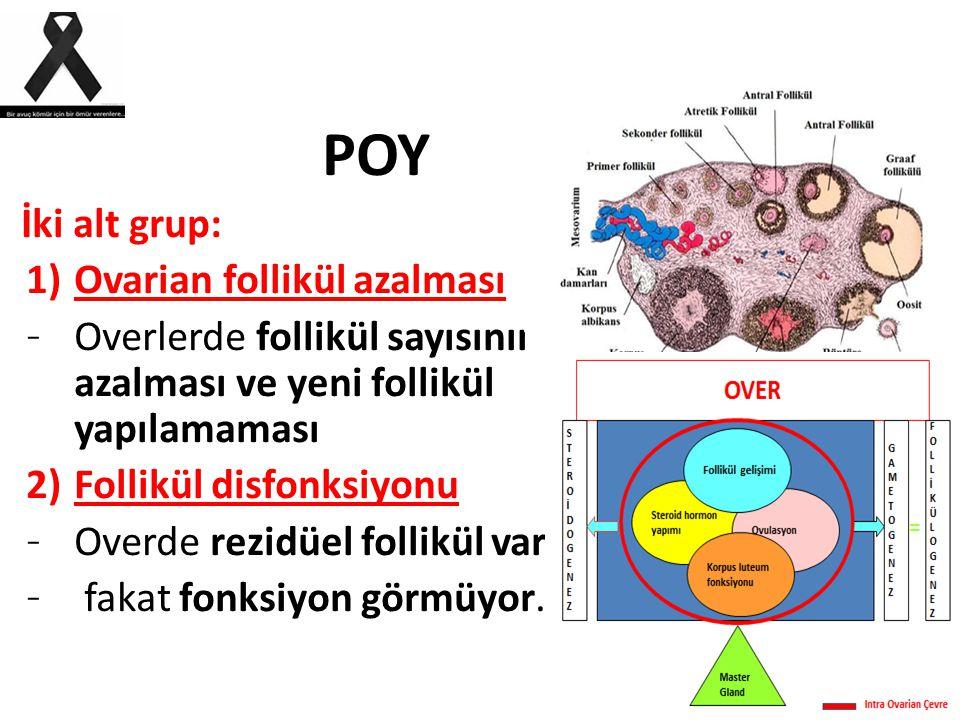 POY İki alt grup: Ovarian follikül azalması. Overlerde follikül sayısının azalması ve yeni follikül yapılamaması.