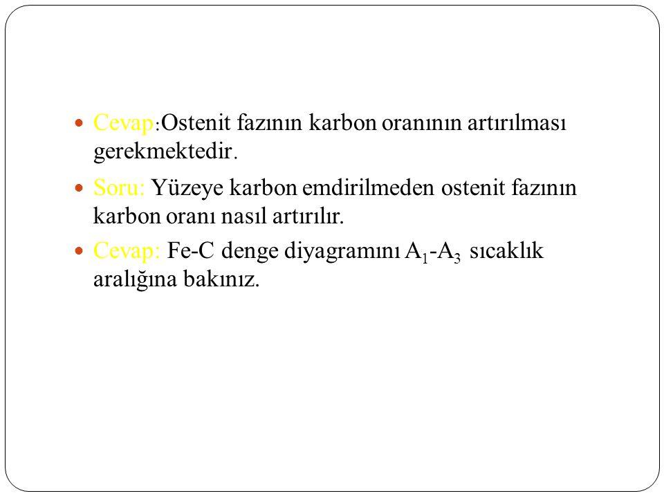 Cevap:Ostenit fazının karbon oranının artırılması gerekmektedir.