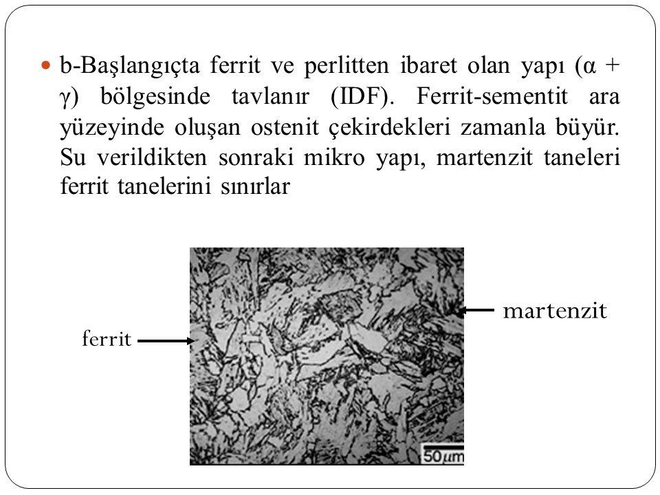 b-Başlangıçta ferrit ve perlitten ibaret olan yapı (α + γ) bölgesinde tavlanır (IDF). Ferrit-sementit ara yüzeyinde oluşan ostenit çekirdekleri zamanla büyür. Su verildikten sonraki mikro yapı, martenzit taneleri ferrit tanelerini sınırlar