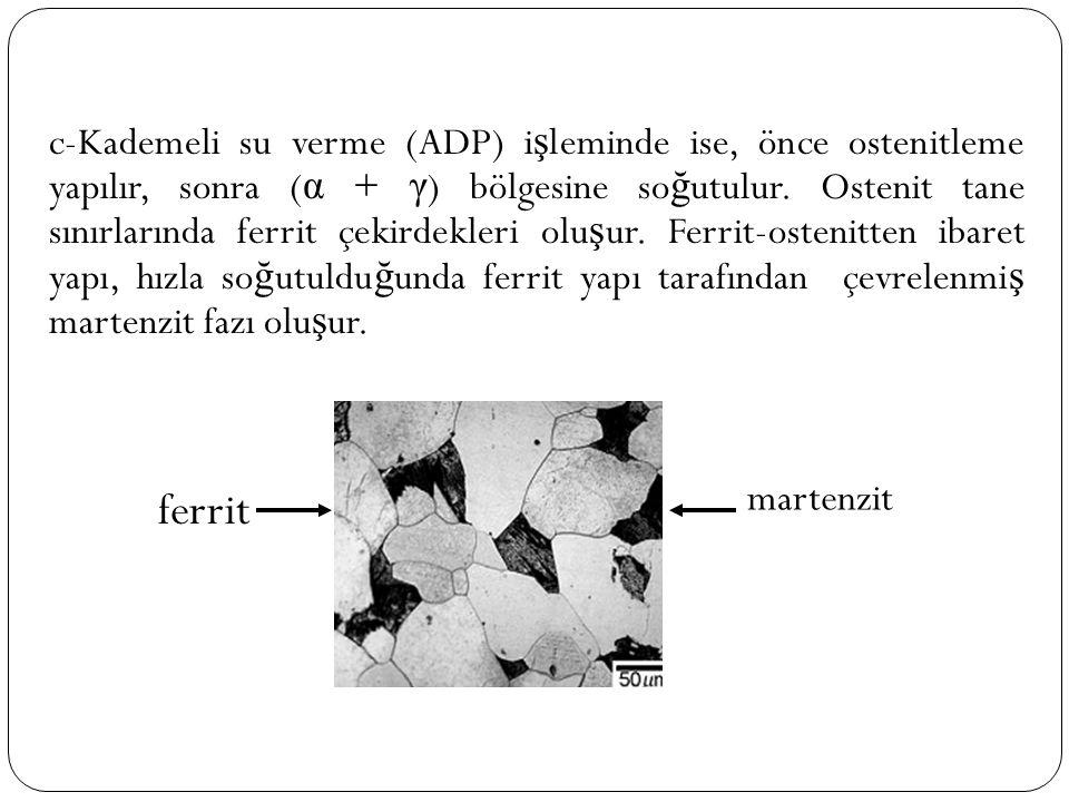 c-Kademeli su verme (ADP) işleminde ise, önce ostenitleme yapılır, sonra (α + γ) bölgesine soğutulur. Ostenit tane sınırlarında ferrit çekirdekleri oluşur. Ferrit-ostenitten ibaret yapı, hızla soğutulduğunda ferrit yapı tarafından çevrelenmiş martenzit fazı oluşur.