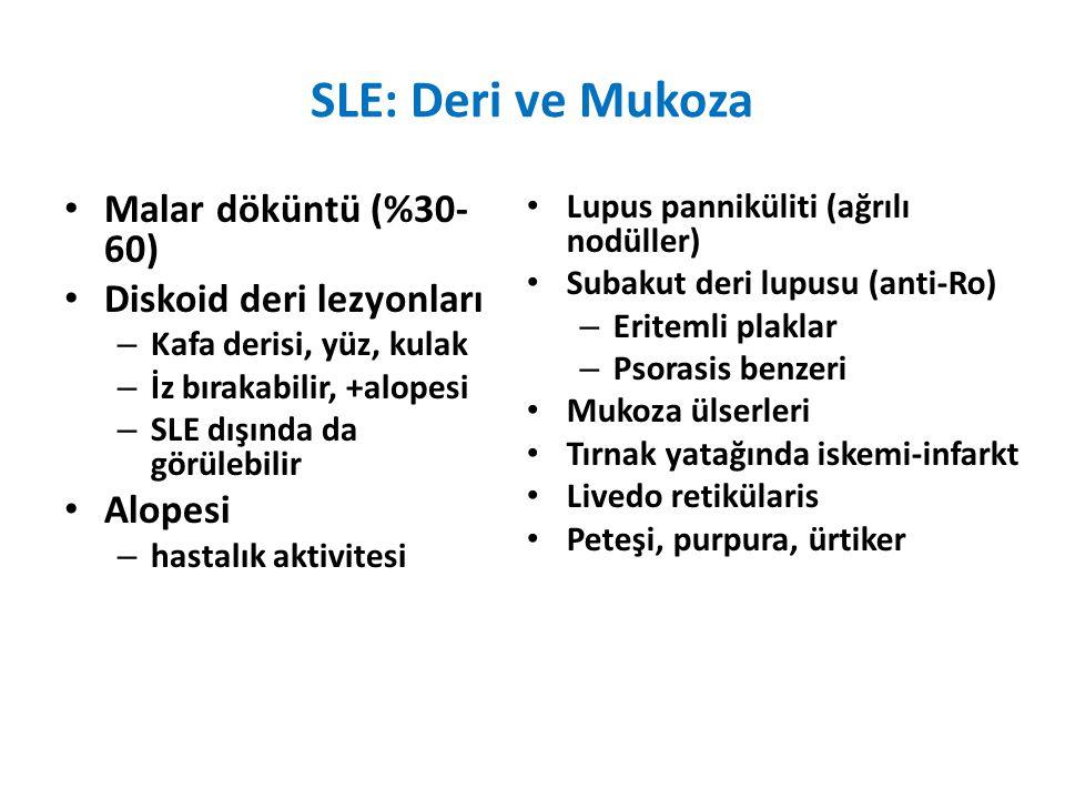 SLE: Deri ve Mukoza Malar döküntü (%30-60) Diskoid deri lezyonları