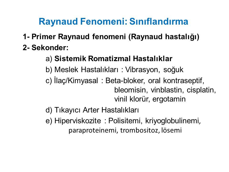 Raynaud Fenomeni: Sınıflandırma