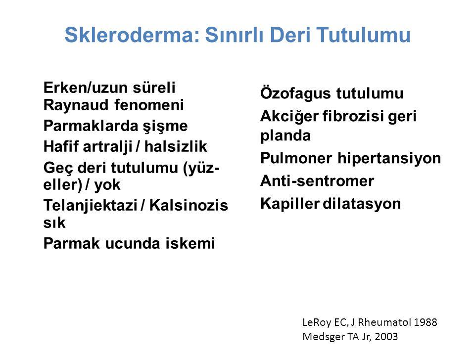 Skleroderma: Sınırlı Deri Tutulumu dirsek ve dizlerin distali + yüz