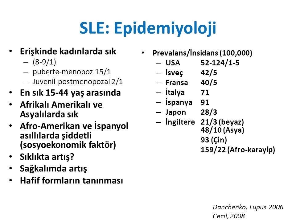 SLE: Epidemiyoloji Erişkinde kadınlarda sık En sık 15-44 yaş arasında