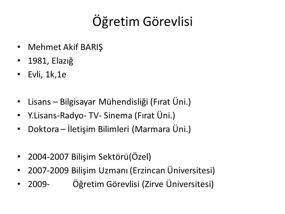 Öğretim Görevlisi Mehmet Akif BARIŞ 1981, Elazığ Evli, 1k,1e