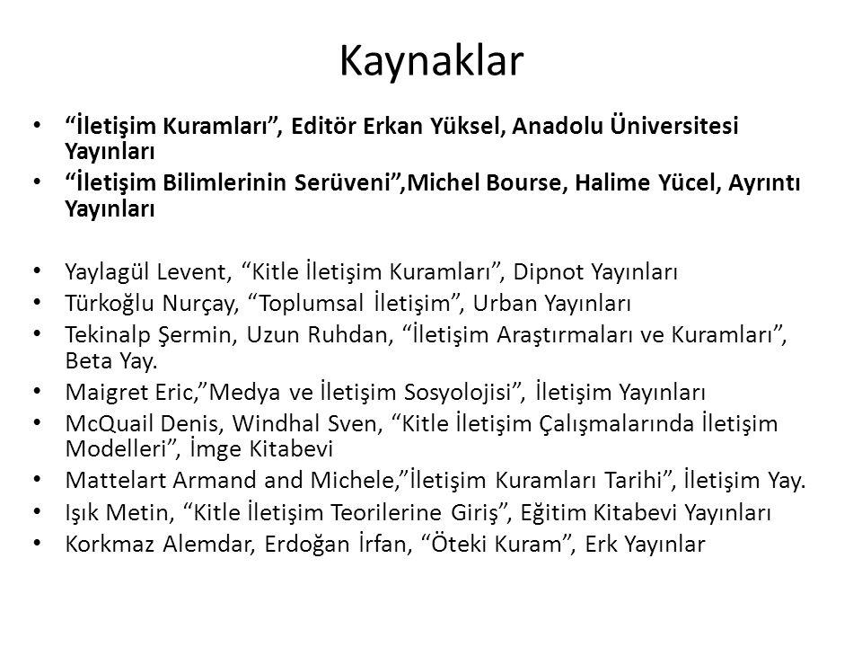 Kaynaklar İletişim Kuramları , Editör Erkan Yüksel, Anadolu Üniversitesi Yayınları.