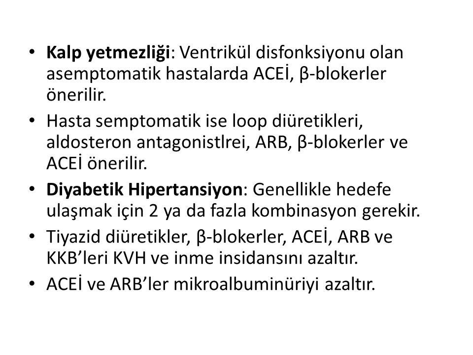 Kalp yetmezliği: Ventrikül disfonksiyonu olan asemptomatik hastalarda ACEİ, β-blokerler önerilir.
